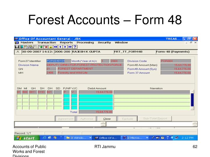 Forest Accounts – Form 48