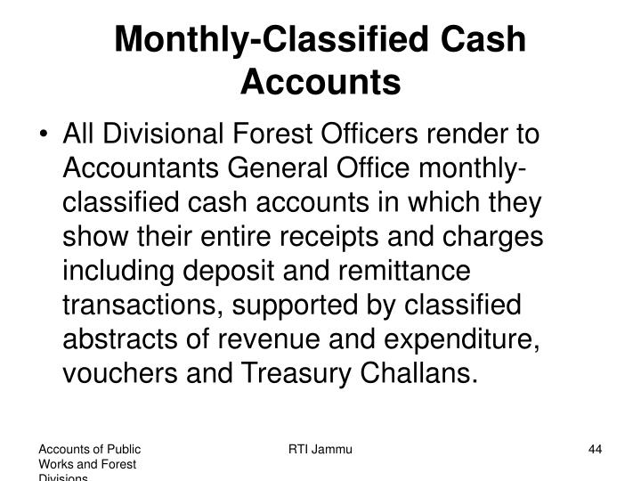 Monthly-Classified Cash Accounts