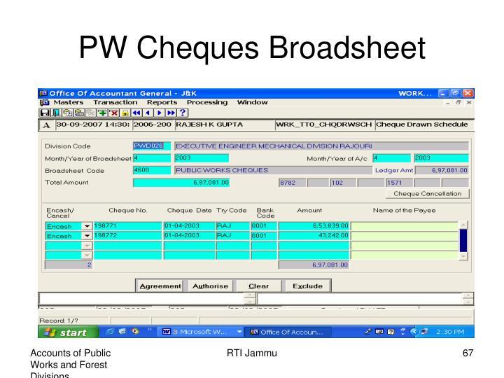 PW Cheques Broadsheet
