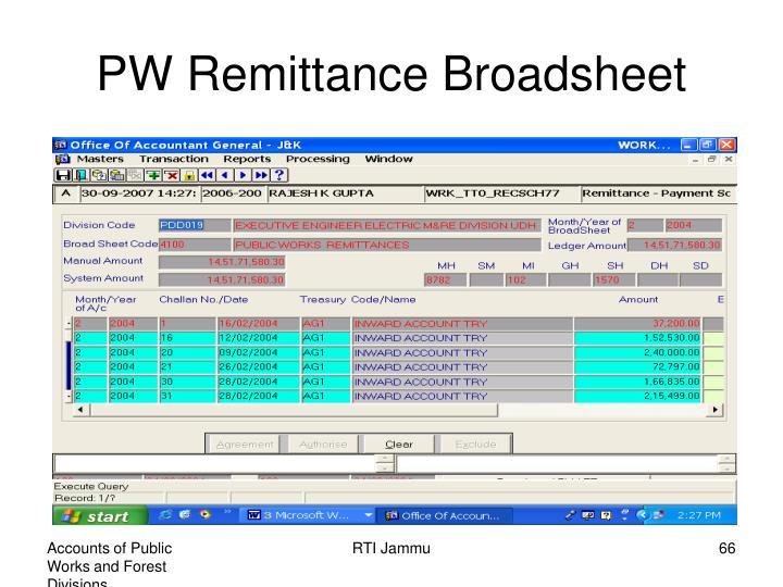 PW Remittance Broadsheet