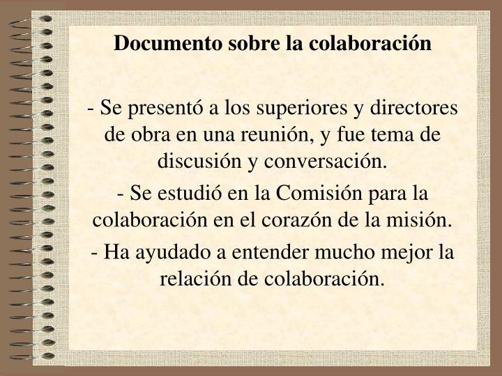 Documento sobre la colaboración