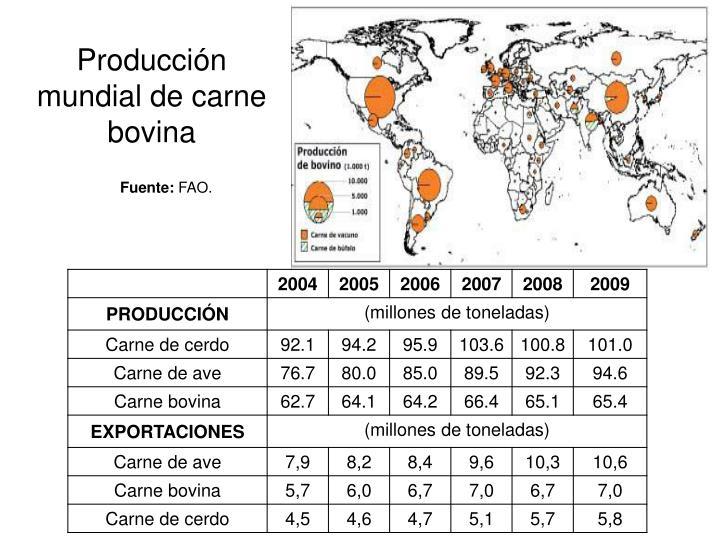 Producci n mundial de carne bovina