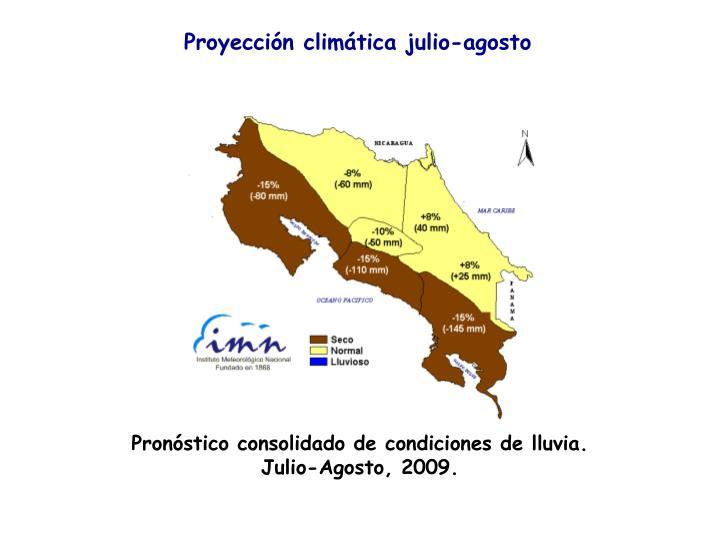 Proyección climática julio-agosto