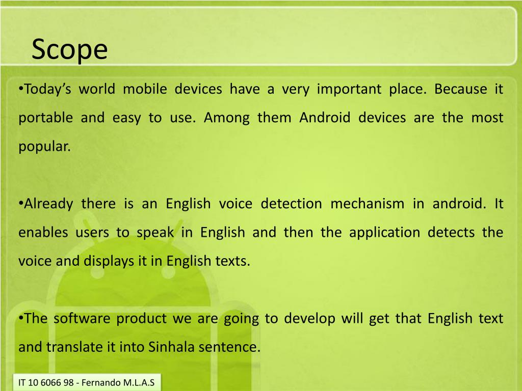 PPT - English Voice and Text to Sinhala Text Translator