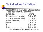 typical values for friction
