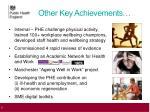 other key achievements