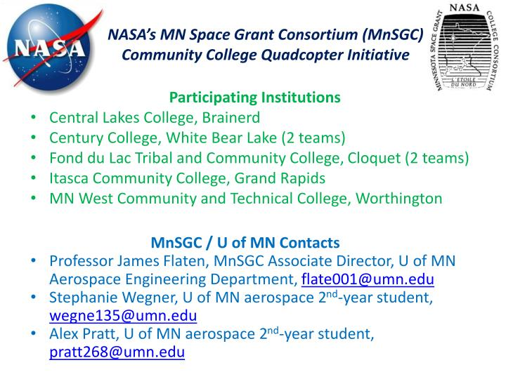 nasa s mn space grant consortium mnsgc community college quadcopter initiative n.