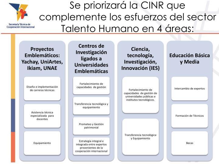 Se priorizará la CINR que complemente los esfuerzos del sector Talento Humano en 4 áreas: