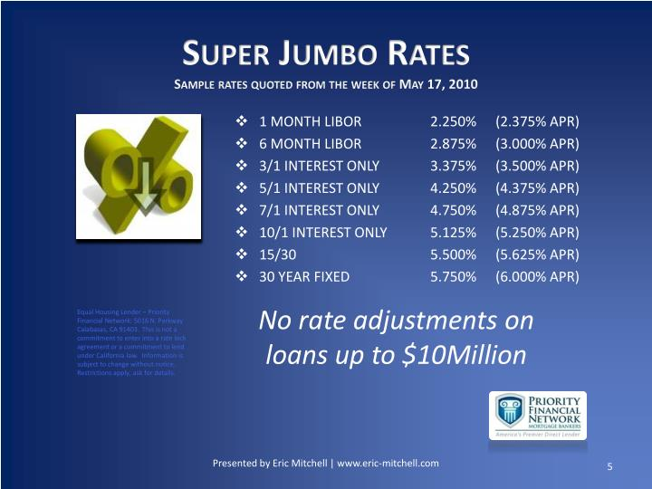 Super Jumbo Rates