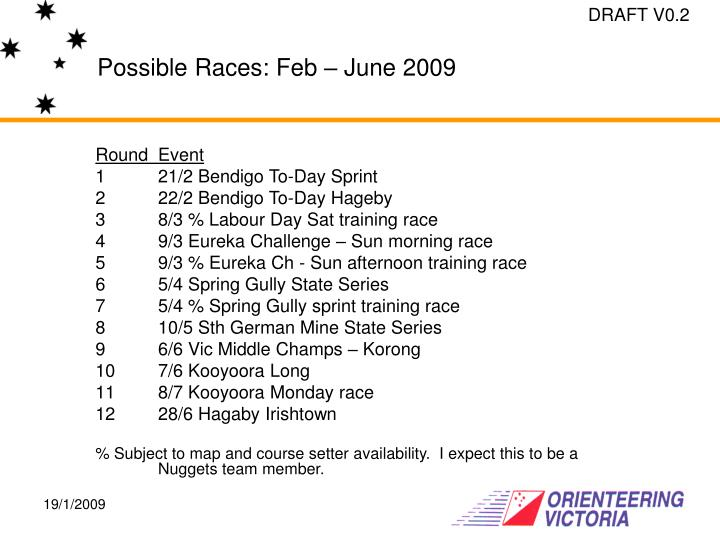 Possible Races: Feb – June 2009