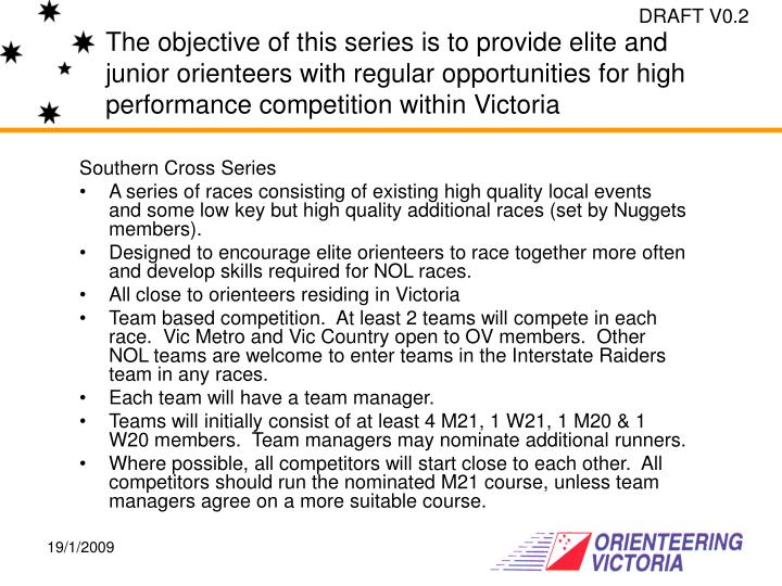 The objective of this series is to provide elite and junior orienteers with regular opportunities fo...