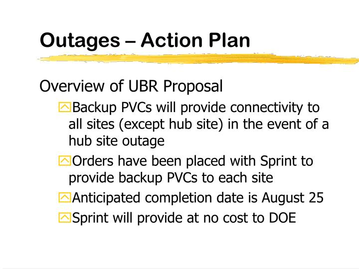 Outages – Action Plan