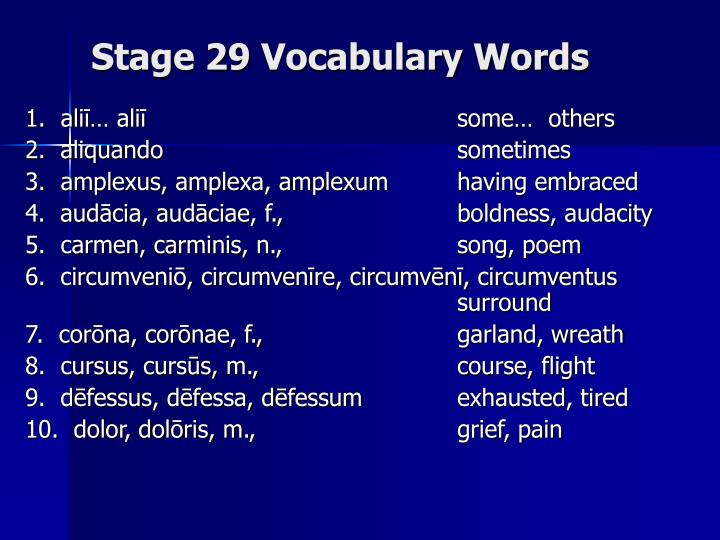 stage 29 vocabulary words n.