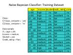 na ve bayesian classifier training dataset