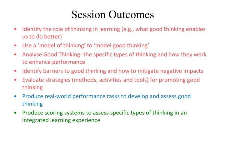 session outcomes n.