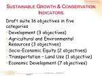 sustainable growth conservation indicators