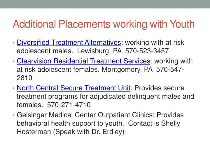 Additional Placements working with Youth