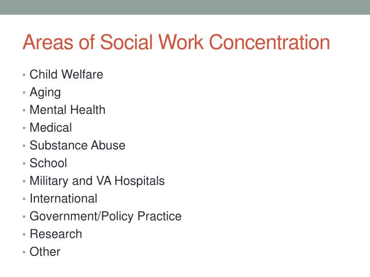 Areas of social work concentration