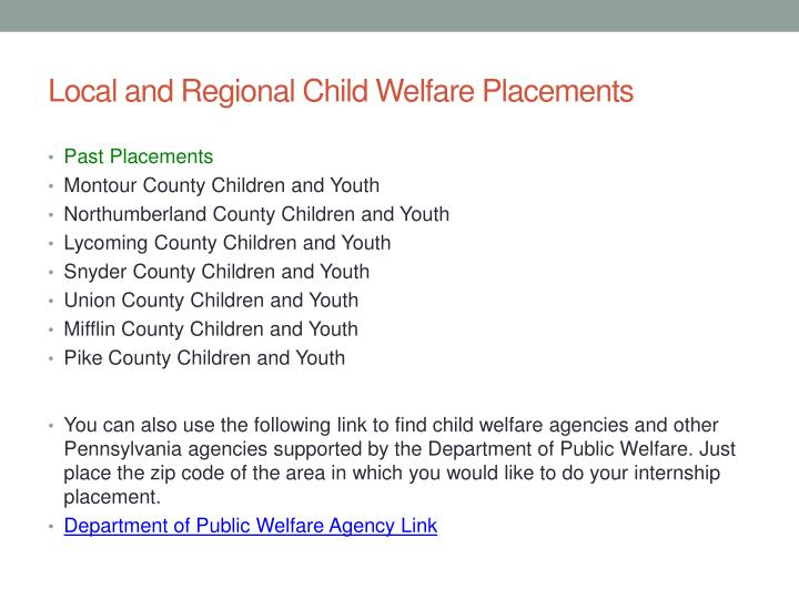 Local and Regional Child Welfare Placements