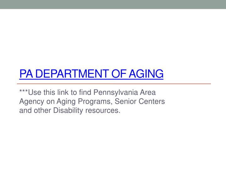 PA Department of Aging