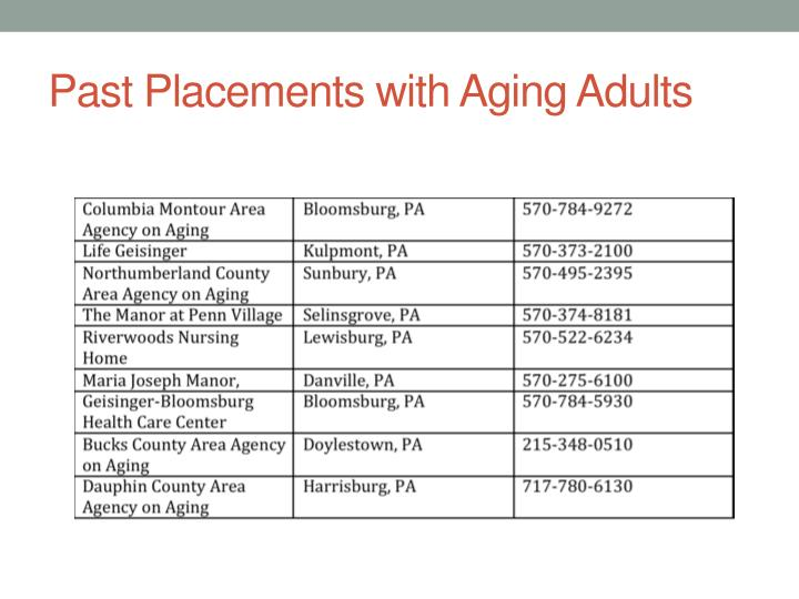 Past Placements with Aging Adults