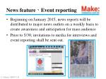 news feature event reporting