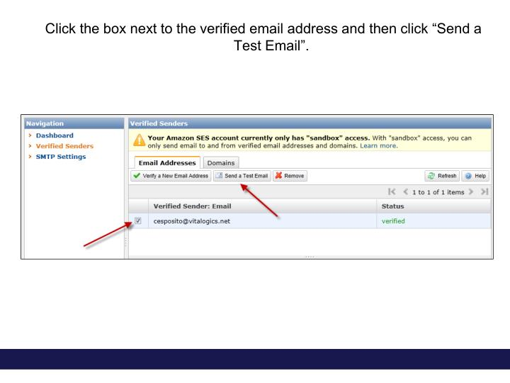 """Click the box next to the verified email address and then click """"Send a Test Email""""."""