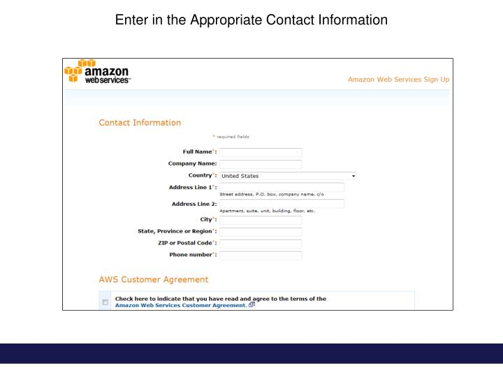 Enter in the Appropriate Contact Information