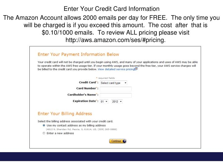 Enter Your Credit Card Information