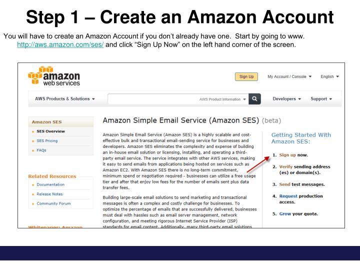 Step 1 create an amazon account