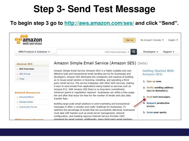 Step 3- Send Test Message