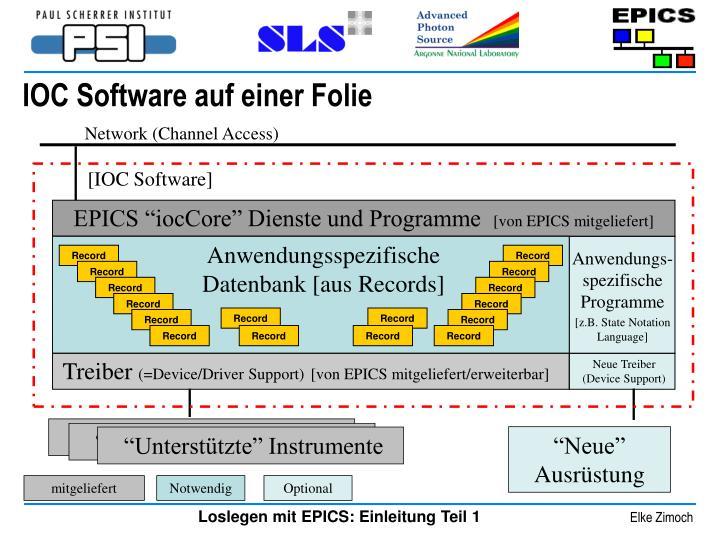 IOC Software auf einer Folie