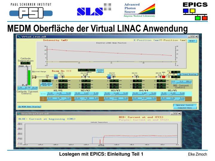 MEDM Oberfläche der Virtual LINAC Anwendung