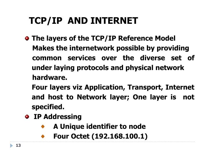 TCP/IP  AND INTERNET