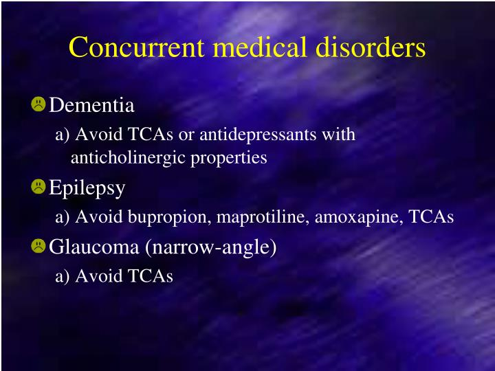 Concurrent medical disorders