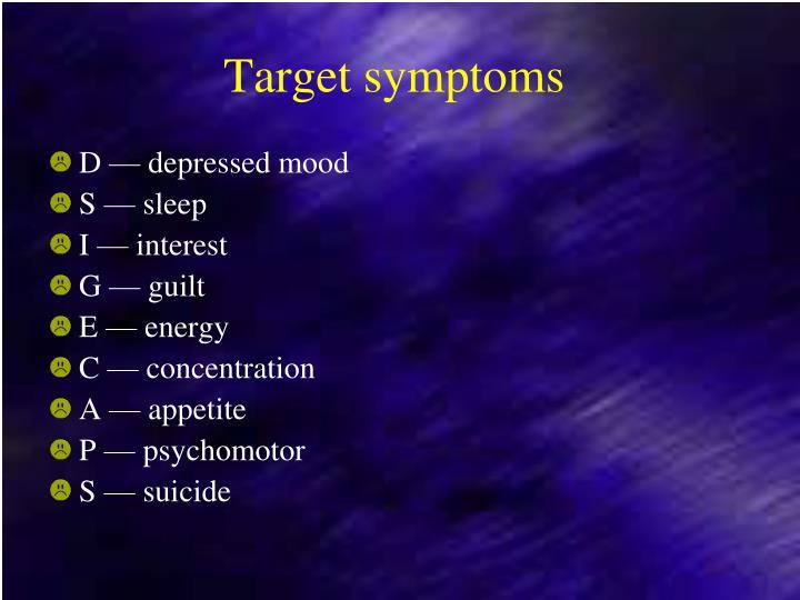 Target symptoms