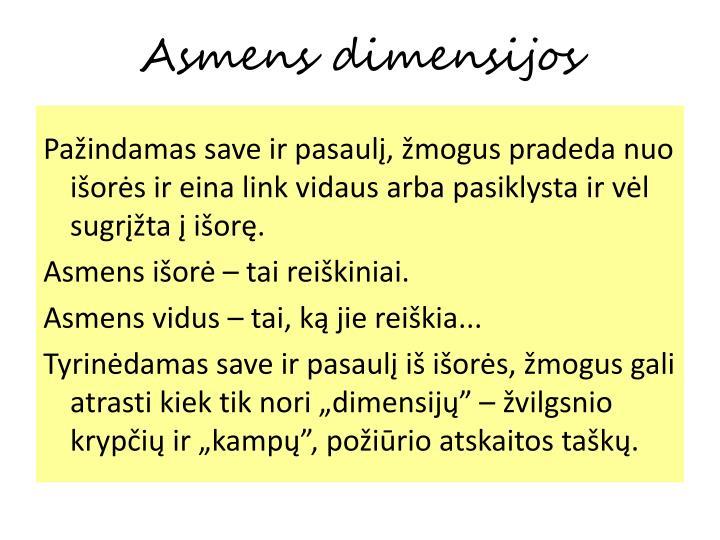Asmens dimensijos