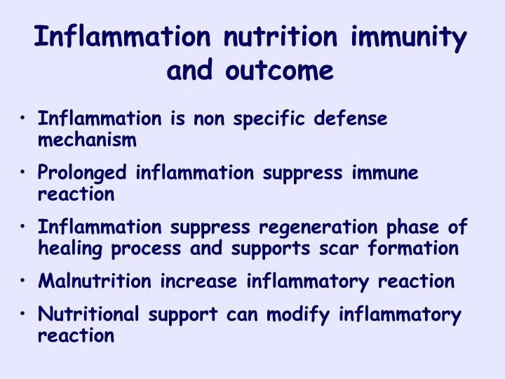 Inflammation nutrition immunity and outcome