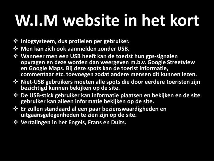W.I.M website in het kort