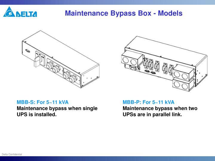 Maintenance Bypass Box - Models