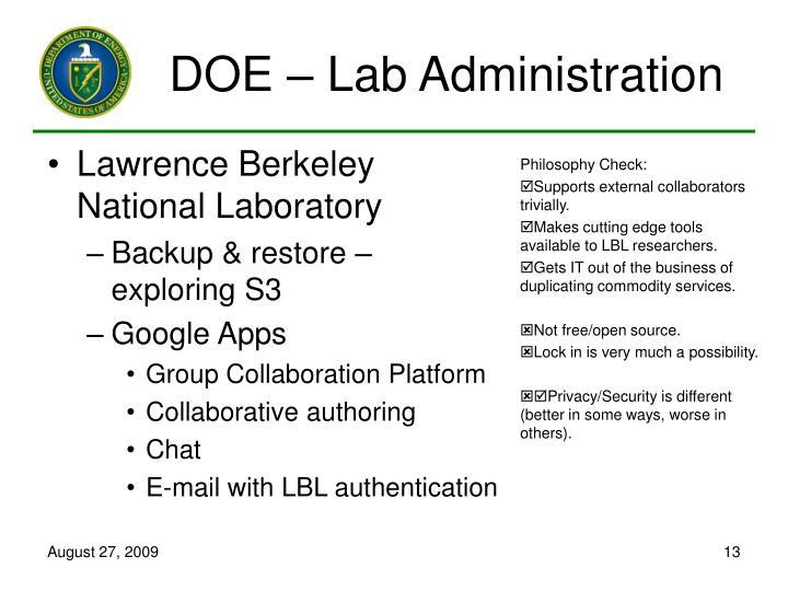 DOE – Lab Administration