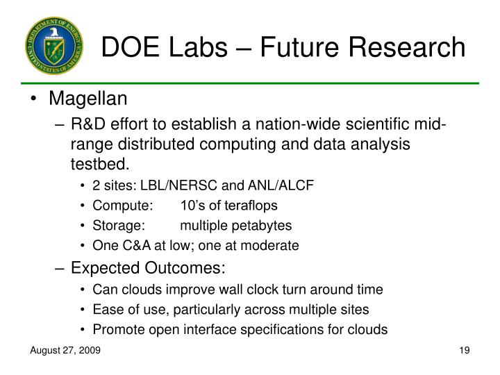 DOE Labs – Future Research
