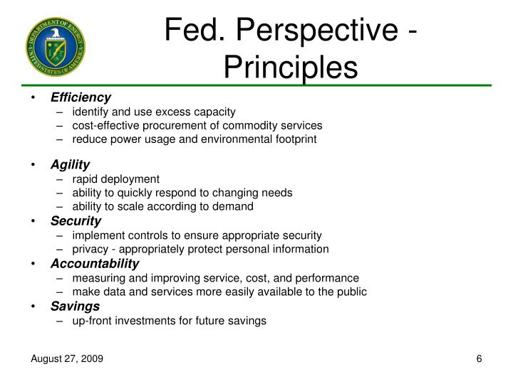 Fed. Perspective - Principles