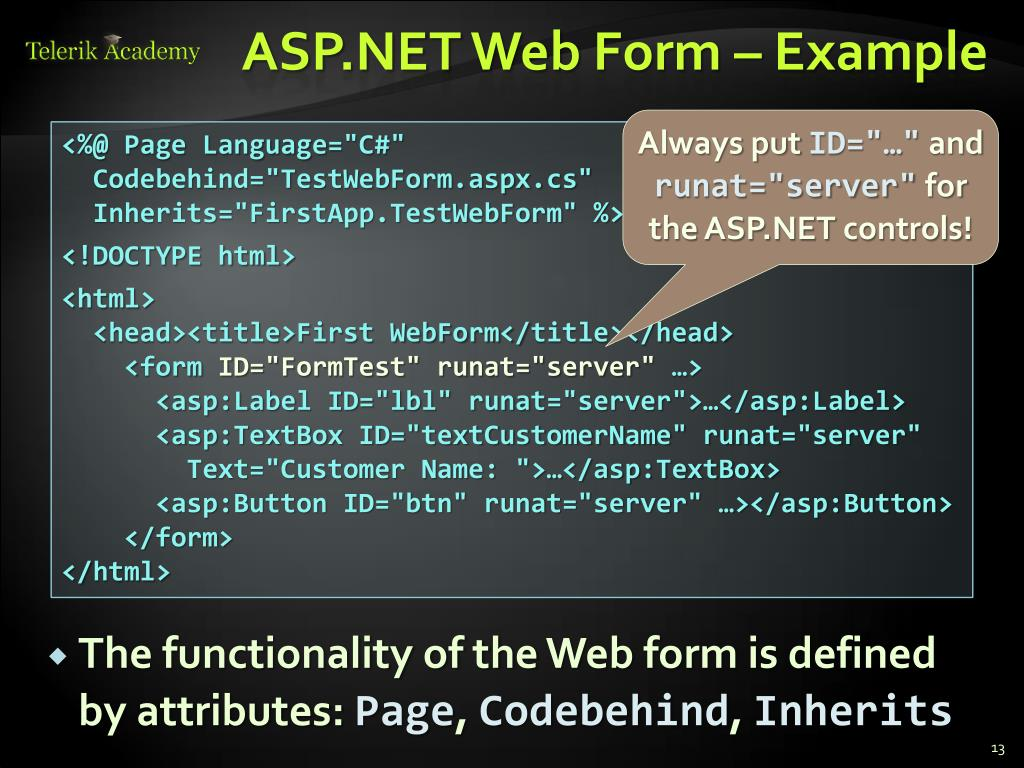 PPT - ASP NET Web Forms – Intro PowerPoint Presentation - ID
