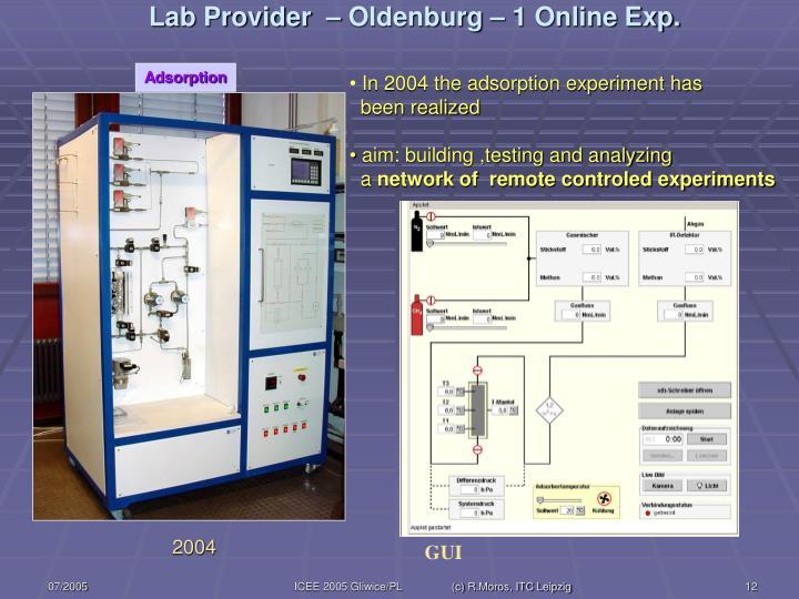 Lab Provider  – Oldenburg – 1 Online Exp.