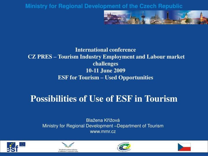 possibilities of use of esf in tourism n.