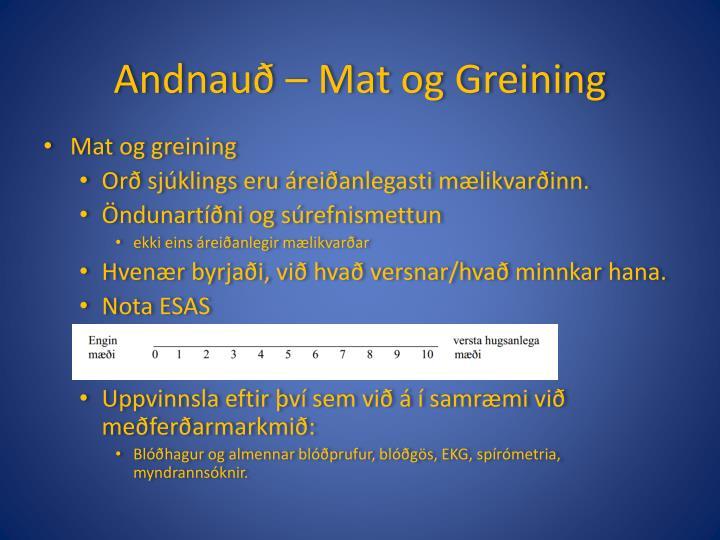 Andnauð – Mat og Greining