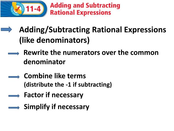 adding subtracting rational expressions like