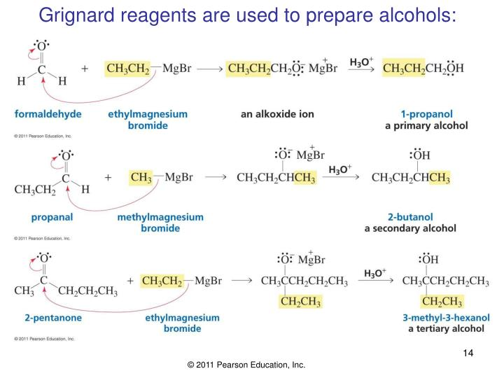 Grignard reagents are used to prepare alcohols: