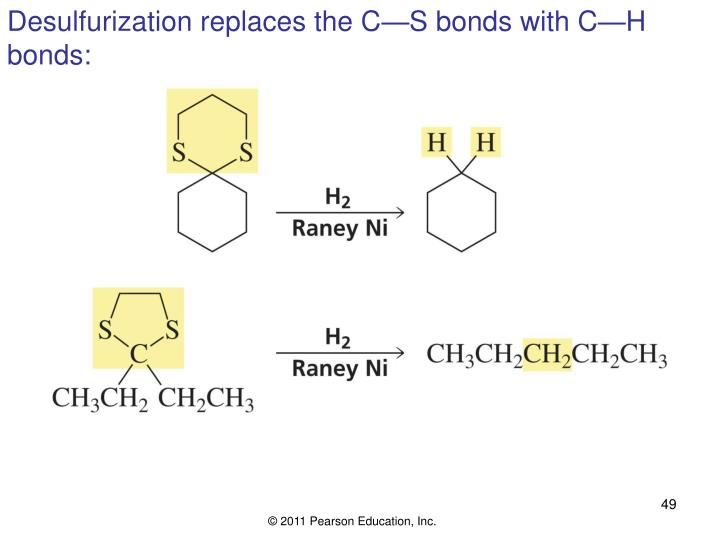 Desulfurization replaces the C—S bonds with C—H